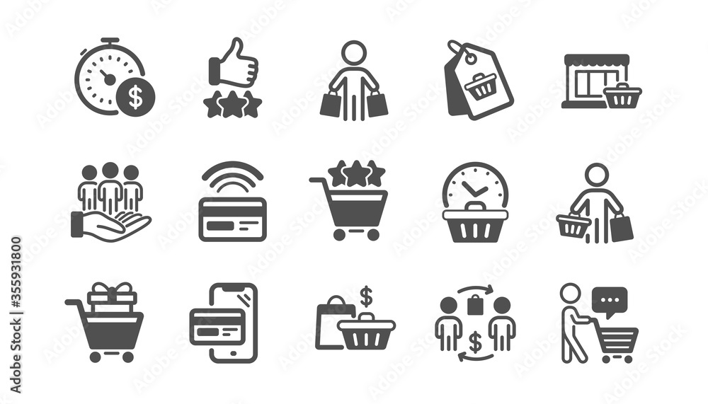 Fototapeta Buyer customer icons set. Contactless payment card, shopping cart and group of people. Store, buyer loyalty card, client ranking set icons. Shopping timer, phone payment, currency. Quality set. Vector