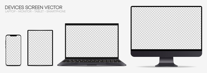 Realistic Device screen mockup – Isolated smartphone, tablet, laptop and monoblock monitor, with blank screen for you design – Dark gray Set – Vector, EPS10, Illustration