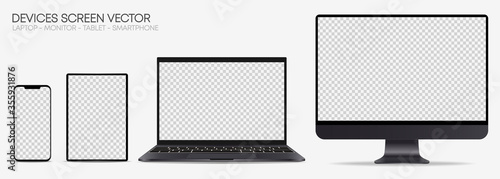 Fototapeta Realistic Device screen mockup – Isolated smartphone, tablet, laptop and monoblock monitor, with blank screen for you design – Dark gray Set – Vector, EPS10, Illustration obraz