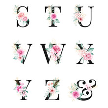 Floral Alphabet Set Of Letters S, T, U, V, W, X, Y, Z, & With Watercolor Flowers And Gold Glitter Composition. Botanic Decoration Multi-purpose For Logo, Wedding Cards, Etc