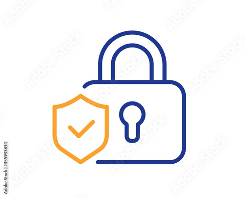 Fototapeta Security lock line icon. Cyber defence shield sign. Private protection symbol. Colorful thin line outline concept. Linear style security lock icon. Editable stroke. Vector obraz