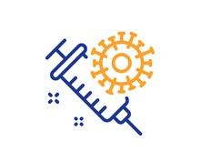 Coronavirus Vaccine Line Icon. Covid-19 Syringe Sign. Corona Virus Symbol. Colorful Thin Line Outline Concept. Linear Style Coronavirus Vaccine Icon. Editable Stroke. Vector