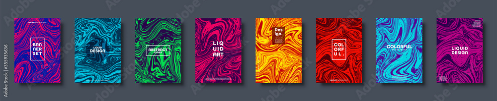 Fototapeta Colorful abstract geometric background. Liquid dynamic lined gradient waves. Fluid marble texture. Modern covers set. Eps10 vector.
