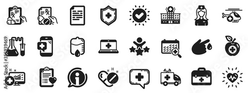Hospital assistance, Ambulance, Health food diet, Laboratory tubes icons Canvas-taulu