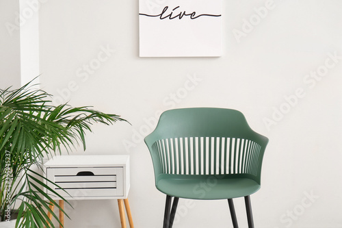 Obraz Interior of modern living room with chair - fototapety do salonu