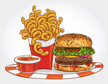 Hand Drawn Vector Illustration Of A Burger With Curly Fries And Ketchup On A Plate.
