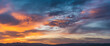 canvas print picture - panoramic view of colorful and dramatic sunset sky