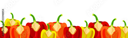 Fototapeta A long white pattern with the image of bright colored sweet peppers. Vector drawing. obraz