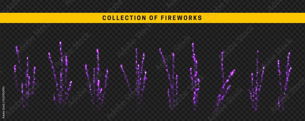 Fototapeta Set festive fireworks isolated on transparent background