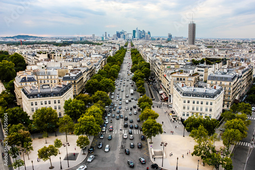Fotomural Panorama of Paris, view to Champs Elysees to La Defense from the Arc de Triomphe