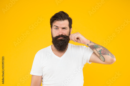 Fototapeta Looking trendy. brutal caucasian guy with moustache. mature hipster with beard. serious unshaven man with beard. beard and skin care. confident and dramatic concept. portrait of bearded stylish man obraz