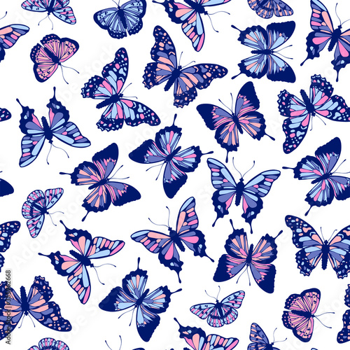 Foto Vector butterflies pattern. Abstract seamless background.