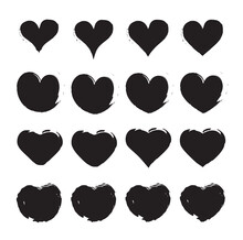 Grungy Vector Hand Draw Hearts...