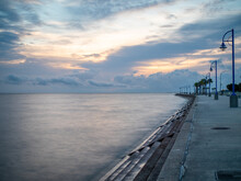 Lakefront Pier At Lake Pontchartrain In New Orleans, Louisiana At Sunrise