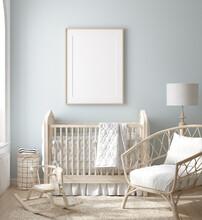 Mock Up Frame In Boy Nursery W...