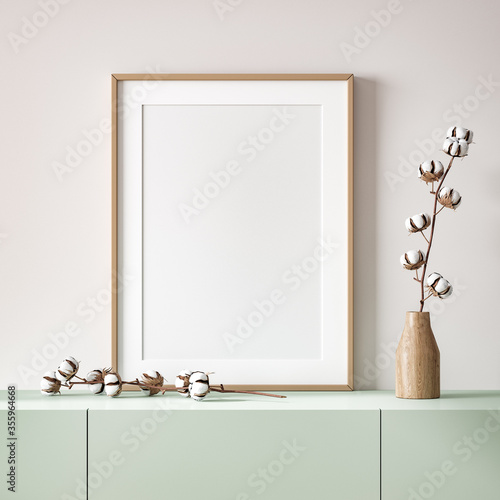 Mockup poster close up in home interior background, 3d render