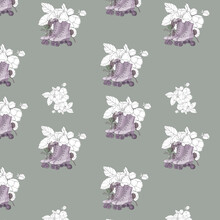 Watercolor Illustration Seamless Pattern Roller Skates And  Simple White Contour Flowers