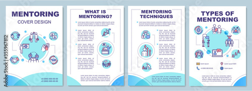 Fototapeta Mentoring brochure template. Corporate leadership. Employee guidance. Flyer, booklet, leaflet print, cover design with linear icons. Vector layouts for magazines, annual reports, advertising posters obraz