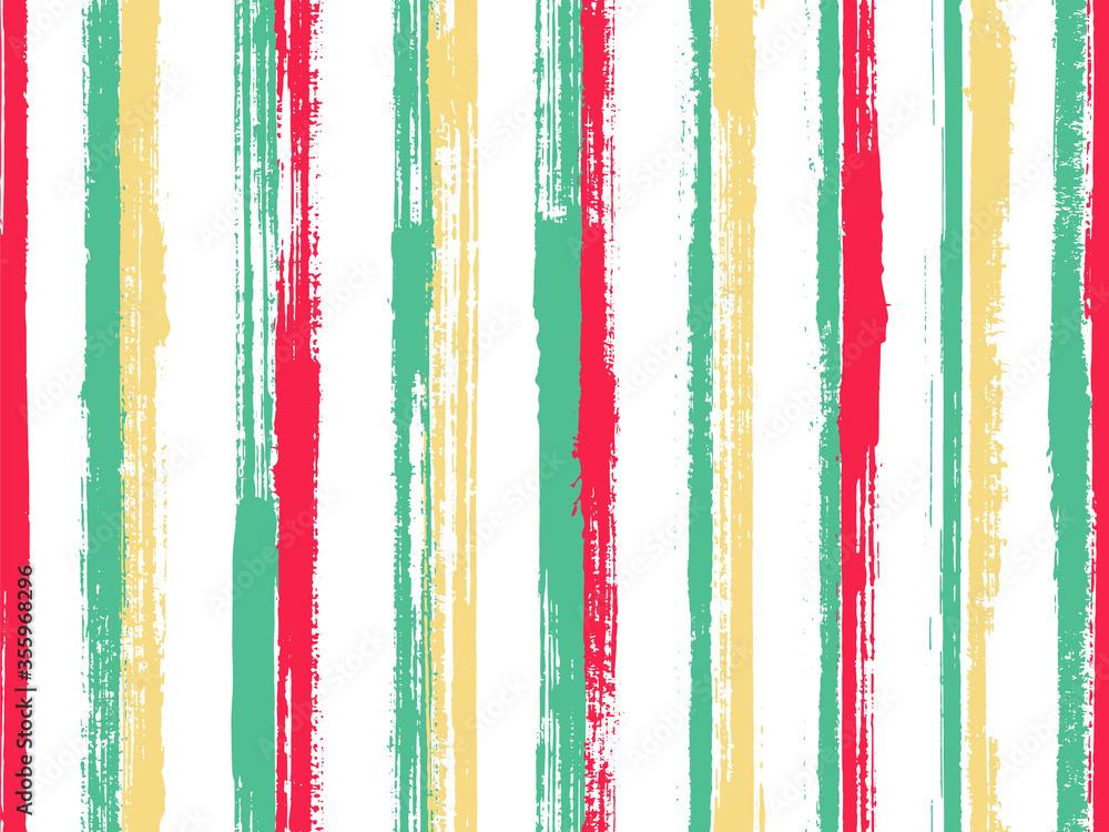 Fototapeta Watercolor hand drawn irregular stripes vector seamless pattern. Elegant tartan plaid print design.