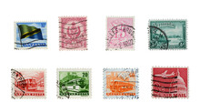 Stamps Mail Close Up On A Whit...