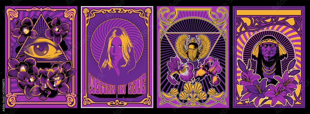 Fototapeta Psychedelic Art Poster Set, 1960s Hippie Style Placards, Woman in Love, Eye in Triangle, Egyptian Scarab, Old Red Indian Chief, Floral Decorations - Lily, Orchids, Iris Flowers