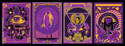 Photo Psychedelic Art Poster Set, 1960s Hippie Style Placards, Woman in Love, Eye in T