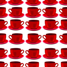 Red Tea Cups With Saucers On A...