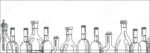 Photo The silhouettes of the bottles of alcohol on a white background