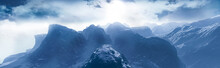 3d Rendering Of Winter Mountai...