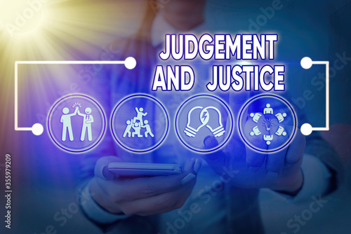 Fotografia Word writing text Judgement And Justice