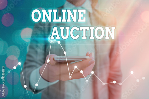 Photo Text sign showing Online Auction