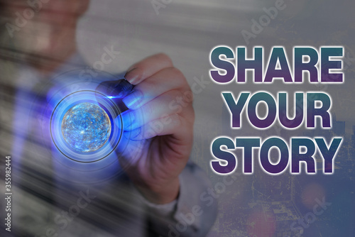 Word writing text Share Your Story Wallpaper Mural