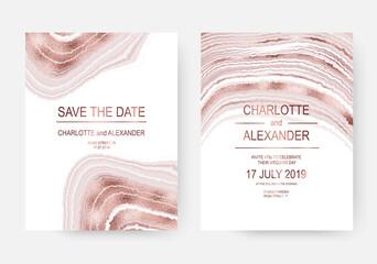 Agate slice wedding invitation design cards with rose gold waves.