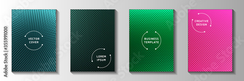 Fototapeta Minimalist circle screen tone gradation cover page templates vector collection. Medical poster  obraz
