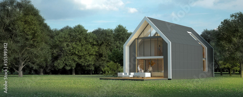 Foto Modern pitched roof villa in rural setting