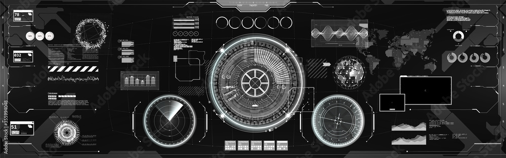 Fototapeta Black and white UI, GUI elements in HUD style. Virtual cockpit or control center, spaceship dashboard with futuristic user interface HUD (radar, circle gadgets, Earth Globe, sound wave and other)