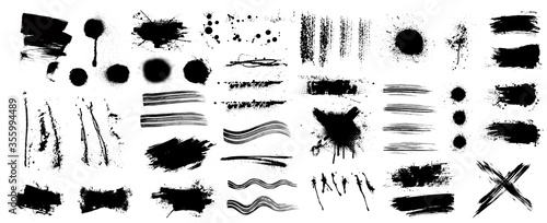 Obraz Ink and grunge elements set (splash, brush, paint template, brush stroke, stains, splastter, blob and other textures) Diverse set, dirty elements and high detail. Vector collection grunge - fototapety do salonu