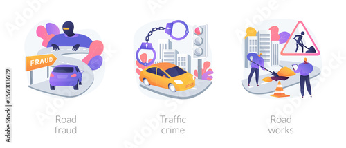 Valokuva Road safety abstract concept vector illustration set