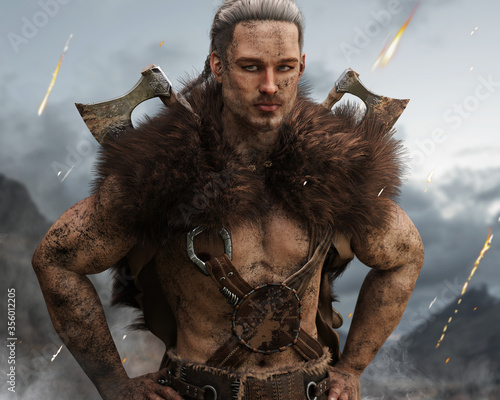 Obraz na płótnie Portrait of a muddy viking Norse warrior from Scandinavia with duel bearded axes posing after a long fought battle defending his homeland with smoke and embers falling in the background
