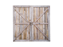 Wooden Closed Door Of Old Barn Isolated On White Background.