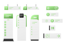 Green Company Signage Mockup Set. Realistic Display Stand Collection