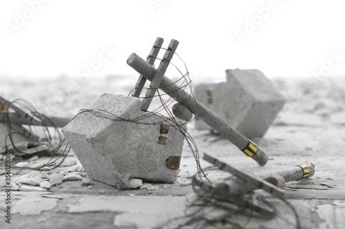災害で壊れた街並みのジオラマ風景 Fotobehang