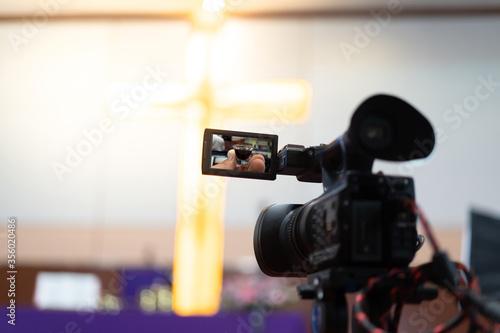 Fototapeta Christian worship and holy communion online.