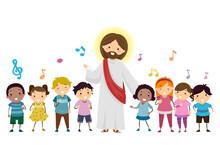 Stickman Kids Sing Jesus Music Notes Illustration