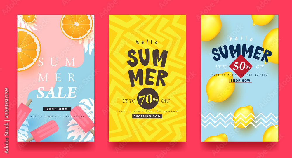 Fototapeta Summer sale background layout banners.voucher discount.Vector illustration template.