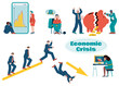 Illustrations of characters suffering from the economic crisis. Modern vector illustration of the global financial crisis. Depression and despair of people against the background of the collapse of