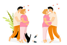 Family Of A Young Pregnant Woman And Man At Home Hugging And Kissing. Happy Parents Waiting For A Baby, Girl Is Having A Big Baby Bump. Vector Cartoon Illustration.