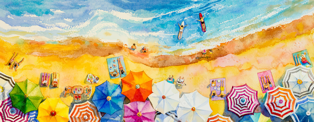 Fototapeta Painting watercolor seascape Top view colorful of lovers family vacation.
