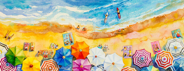 Painting watercolor seascape Top view colorful of lovers family vacation.