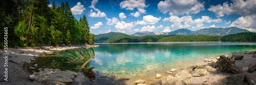 Obraz Sommer am See und Berge - Eibsee Panaroama - fototapety do salonu